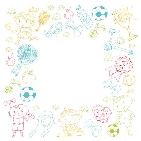 Esportes para crianças. Crianças de desenho. Jardim infância, escola, faculdade, pré-escolar futebol, futebol, tênis, executando, boxe, rúgbi, ioga, natação Foto de archivo - 92444199