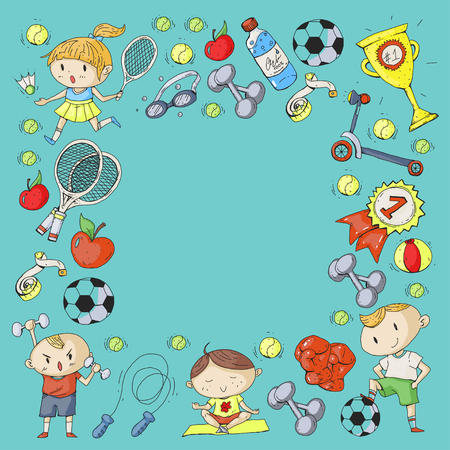 Esportes para crianças. Crianças de desenho. Jardim infância, escola, faculdade, pré-escolar futebol, futebol, tênis, executando, boxe, rúgbi, ioga, natação Foto de archivo - 92444329