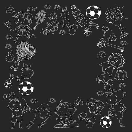 Esportes para crianças. Crianças de desenho. Jardim infância, escola, faculdade, pré-escolar futebol, futebol, tênis, executando, boxe, rúgbi, ioga, natação Foto de archivo - 92444331