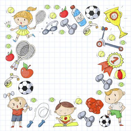 Deportes para niños Niños dibujando. Jardín de infantes, escuela, colegio, preescolar Fútbol fútbol tenis corriendo boxeo rugby yoga natación Foto de archivo - 92444397
