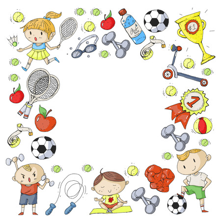 Children sports. Kids drawing. Kindergarten, school, college, preschool. Soccer, football, tennis, running, boxing, rugby, yoga, swimming