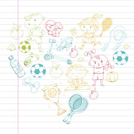 Deportes para niños Niños dibujando. Jardín de infantes, escuela, colegio, preescolar Fútbol fútbol tenis corriendo boxeo rugby yoga natación Foto de archivo - 92444894