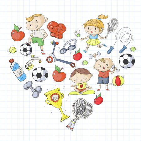 Esportes para crianças. Crianças de desenho. Jardim infância, escola, faculdade, pré-escolar futebol, futebol, tênis, executando, boxe, rúgbi, ioga, natação Foto de archivo - 92445617
