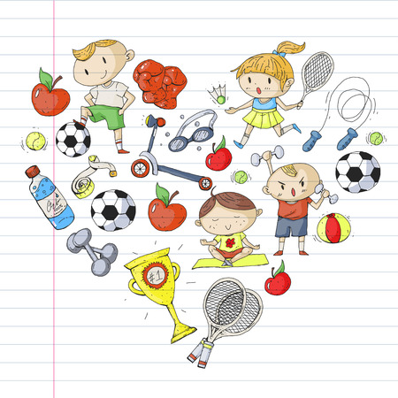 Children sports. Kids drawing. Kindergarten, school, college, preschool Soccer football tennis running boxing rugby yoga swimming Illustration