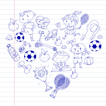 Children sports. Kids drawing. Kindergarten, school, college, preschool Soccer football tennis running boxing rugby yoga swimming Ilustrace