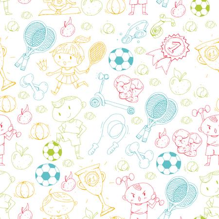 Kids sports drawing pattern illustration.