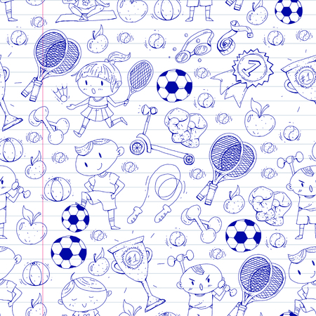 Kids drawing of different sports pattern design.