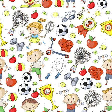 Kids sports drawing pattern design.