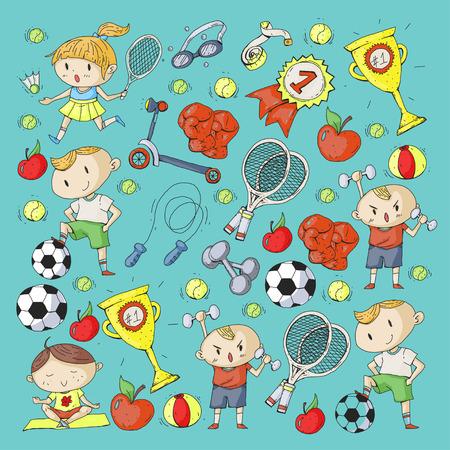 Miúdos que tiram do projeto diferente do teste padrão dos esportes. Foto de archivo - 92479823