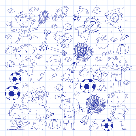 Kids drawing of different sports pattern design. Reklamní fotografie - 92479826