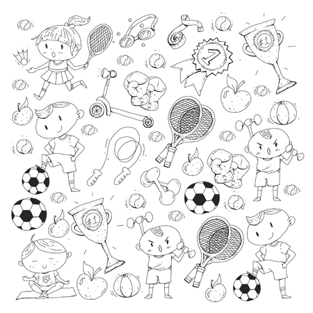 Kids drawing of different sports pattern illustration. Ilustrace