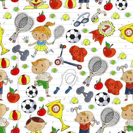 Esporte infantil. Crianças de desenho. Jardim de infância, escola, faculdade, pré-escola. Futebol, futebol, tênis, corrida, boxe, rugby, ioga, natação Foto de archivo - 92493949