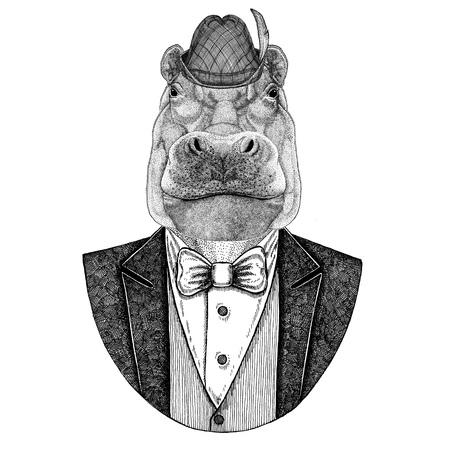 German tirol hat Bavarian national hat Hippo, Hippopotamus, behemoth, river-horse Stock Photo
