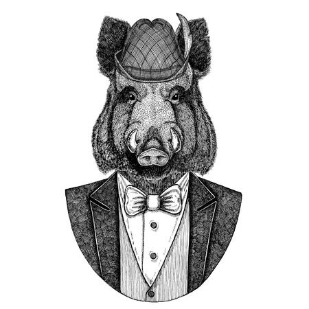 German tirol hat Bavarian national hat Aper, boar, hog, wild boaraper, boar, hog, wild boar Hand drawn image for t-shirt, tattoo, emblem, badge, logo, patch