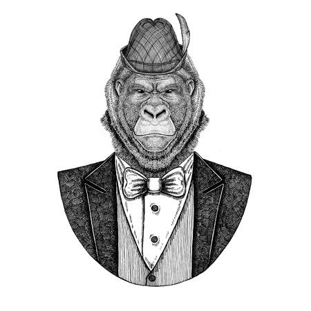 German tirol hat Bavarian national hat Gorilla, monkey, ape Frightful animal Hand drawn image for tattoo, emblem, badge, patch
