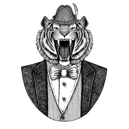 German tirol hat Bavarian national hat Wild tiger Hand drawn image for tattoo, emblem, badge, logo, patch, t-shirt