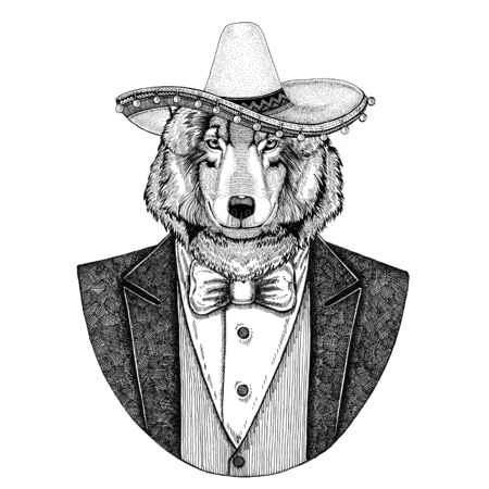 Wolf Dog Wild animal wearing Sombrero - traditional mexican hat Hand drawn illustration for tattoo, emblem, logo, badge, patch, t-shirt Stock fotó