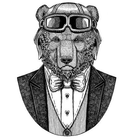 Ours brun Ours russe Animal portant un casque d'aviateur et une veste avec noeud papillon Flying club Illustration dessinée à la main pour le tatouage, t-shirt, emblème, logo, badge, patch Banque d'images - 92787472