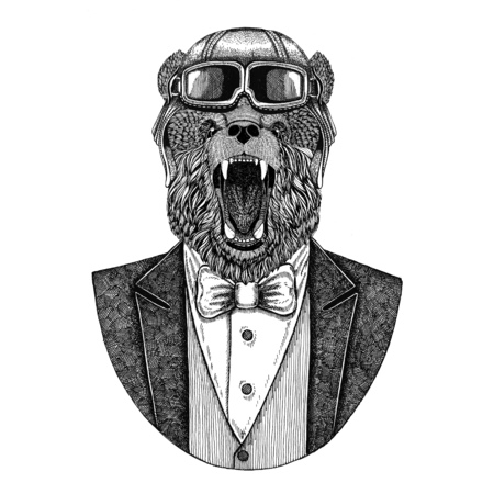 Brown bear Russian bear Animal wearing aviator helmet and jacket with bow tie Flying club Hand drawn illustration for tattoo, t-shirt, emblem, logo, badge, patch