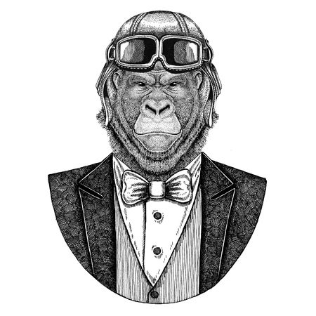 Gorilla, monkey, ape Animal wearing aviator helmet and jacket with bow tie Flying club Hand drawn illustration for tattoo, t-shirt, emblem, logo, badge, patch Stok Fotoğraf