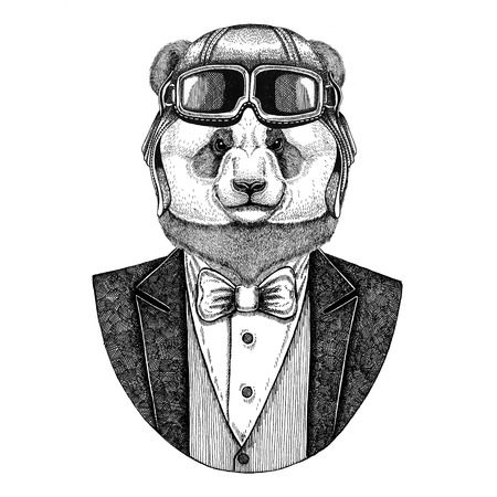 Panda bear, bamboo bear Animal wearing aviator helmet and jacket with bow tie Flying club Hand drawn illustration for tattoo, t-shirt, emblem, logo, badge, patch