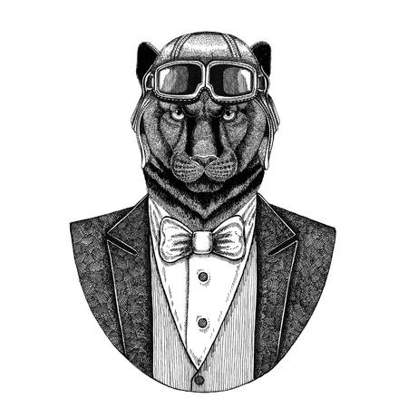 Panthère Puma Cougar Animal portant un casque d'aviateur et une veste avec noeud papillon Club de pilotage Illustration de la main dessinée pour tatouage, t-shirt, emblème, logo, badge, patch Banque d'images - 92930087