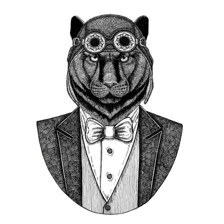 Panther Puma Cougar Animal wearing aviator helmet and jacket with bow tie Flying club Hand drawn illustration for tattoo, t-shirt, emblem, logo, badge, patch Stok Fotoğraf