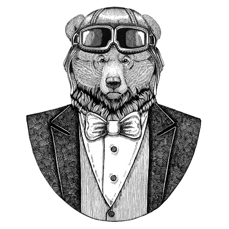 Grizzly bear Big wild bear Animal wearing aviator helmet and jacket with bow tie Flying club Hand drawn illustration for tattoo, t-shirt, emblem, logo, badge, patch Stock Photo