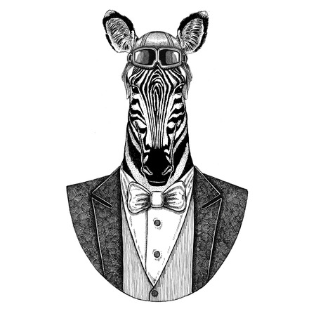 Zebra Horse Animal wearing aviator helmet and jacket with bow tie Flying club Hand drawn illustration for tattoo, t-shirt, emblem, logo, badge, patch