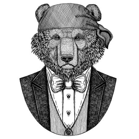 Bear Wild brown bear Wild biker, pirate animal wearing bandana Hand drawn image for tattoo, emblem, badge, logo, patch, t-shirt