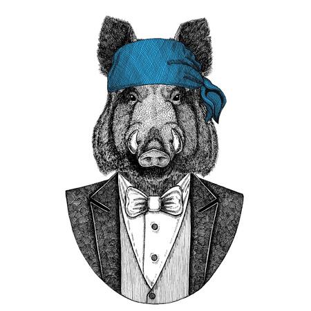 Aper, boar, hog, hog, wild boar Wild biker, pirate animal wearing bandana Hand drawn image for tattoo, emblem, badge, logo, patch, t-shirt