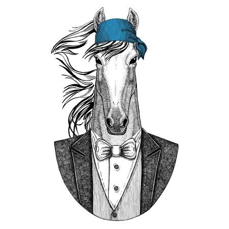Cavalo, hoss, cavaleiro, corcel, corer Selvagem motociclista, animal pirata usando bandana Imagem de mão desenhada para tatuagem, emblema, distintivo, logotipo, remendo, t-shirt Foto de archivo - 92796789