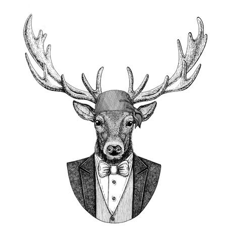 Deer Wild biker, pirate animal wearing bandana Hand drawn image for tattoo, emblem, badge, logo, patch, t-shirt Imagens