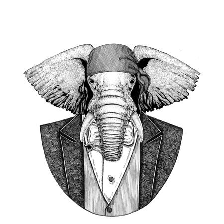 African or indian Elephant Wild biker, pirate animal wearing bandana Hand drawn image for tattoo, emblem, badge, logo, patch, t-shirt