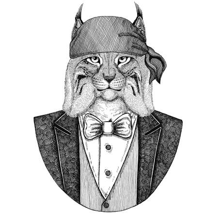 Gato selvagem Lynx Bobcat Trote selvagem motociclista, animal pirata usando bandana Imagem desenhada por tatuagem, emblema, distintivo, logotipo, remendo, t-shirt Foto de archivo - 92796799