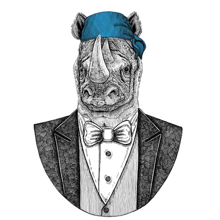 Rhinoceros, rhino Wild biker, pirate animal wearing bandana Hand drawn image for tattoo, emblem, badge, logo, patch, t-shirt