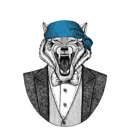 Wolf, dog Wild biker, pirate animal wearing bandana Hand drawn image for tattoo, emblem, badge, logo, patch, t-shirt