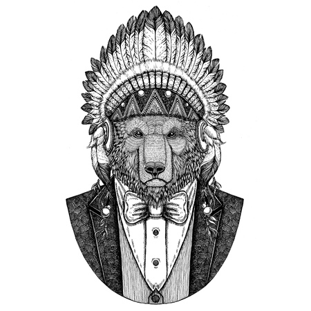 Brown bear Russian bear Wild animal wearing inidan hat, head dress with feathers Hand drawn image for tattoo, t-shirt, emblem, badge, logo, patch