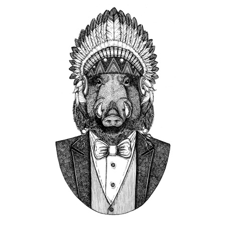 Aper, boar, hog, wild boar Wild animal wearing inidan hat, head dress with feathers Hand drawn image for tattoo, t-shirt, emblem, badge, logo, patch Stock Photo - 92821606