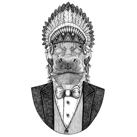 Hippo, Hippopotamus, behemoth, river-horse Wild animal wearing inidan hat, head dress with feathers Hand drawn image for tattoo, t-shirt, emblem, badge, logo, patch