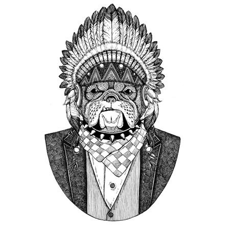 Bulldog, dog Wild animal wearing inidan hat, head dress with feathers Hand drawn image for tattoo, t-shirt, emblem, badge, logo, patch