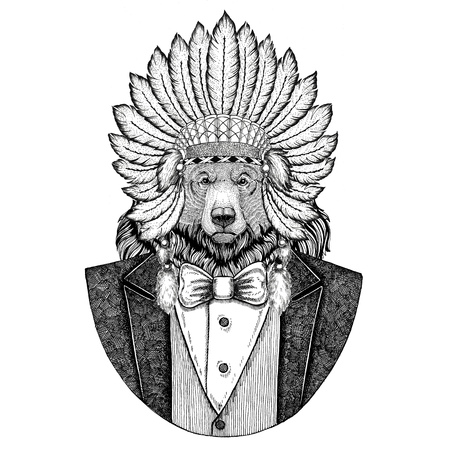 Grizzly bear Big wild bear Wild animal wearing inidan hat, head dress with feathers Hand drawn image for tattoo, t-shirt, emblem, badge, logo, patch