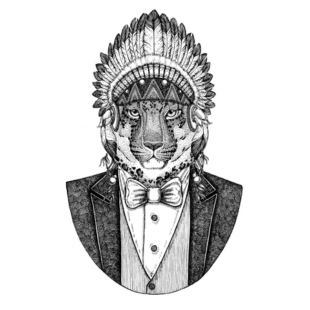 Wild cat, Leopard, Cat-o-mountain, Panther Wild animal wearing inidan hat, head dress with feathers Hand drawn image for tattoo, t-shirt, emblem, badge, logo, patch Stock Photo