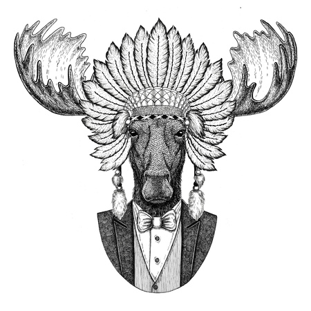 Moose, elk Wild animal wearing inidan hat, head dress with feathers Hand drawn image for tattoo, t-shirt, emblem, badge, logo, patch