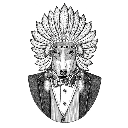 DOG for t-shirt design Wild animal wearing inidan hat, head dress with feathers Hand drawn image for tattoo, t-shirt, emblem, badge, logo, patch