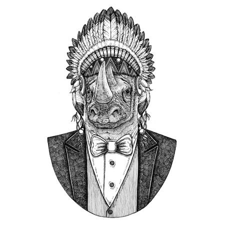 Rhinoceros, rhino Wild animal wearing inidan hat, head dress with feathers Hand drawn image for tattoo, t-shirt, emblem, badge, logo, patch Stock Photo