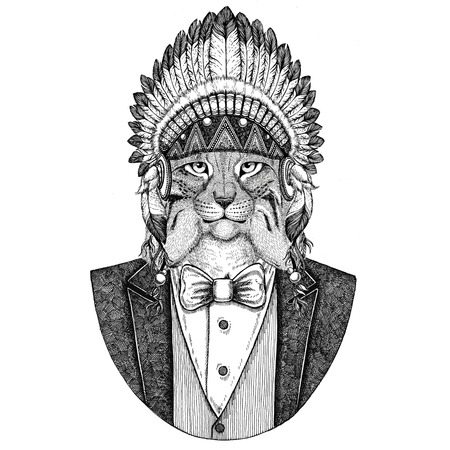 Wild cat Lynx Bobcat Trot Wild animal wearing inidan hat, head dress with feathers Hand drawn image for tattoo, t-shirt, emblem, badge, logo, patch