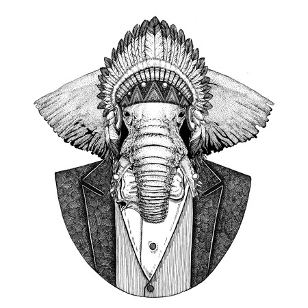 African or indian Elephant Wild animal wearing inidan hat, head dress with feathers Hand drawn image for tattoo, t-shirt, emblem, badge, logo, patch