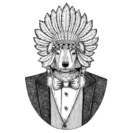 Wolf Dog Wild animal wearing inidan hat, head dress with feathers Hand drawn image for tattoo, t-shirt, emblem, badge, logo, patch Stock Photo