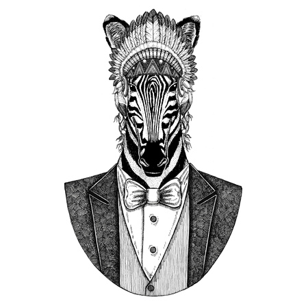 Zebra Horse Wild animal wearing inidan hat, head dress with feathers Hand drawn image for tattoo, t-shirt, emblem, badge, logo, patch Stock Photo